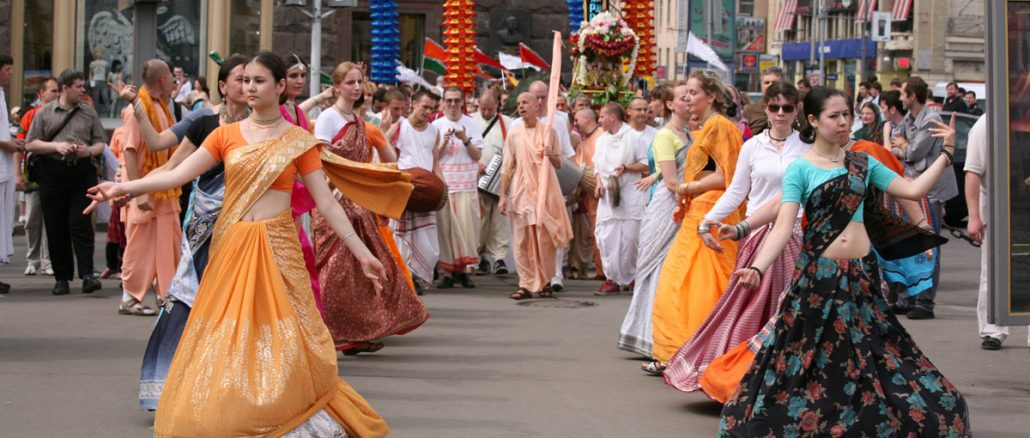 russian hare krishna devotees on harinam
