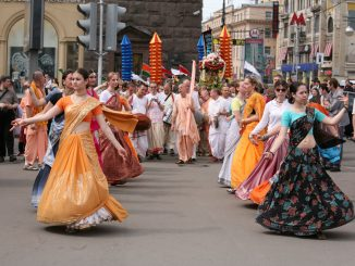 russian hare krishna devotees on harinam